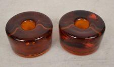 Vintage Mid Century Modern Blenko Amber Glass Candle Holders Set of 2