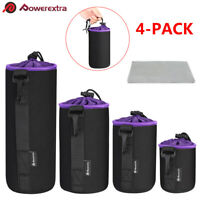 4X Soft Neoprene Camera Lens Bag Pouch Protector Case For Canon Nikon Sony DSLR