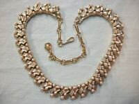 (HIGH END QUALITY)~RARE~VTG CORO~GOLDTONE METAL~FX PEARL~LINK~COLLAR NECKLACE