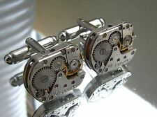 Steampunk Punk Cufflinks mechanical vintage watch movements industrial jewellery