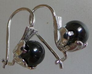 earrings hook fastening  crystal SILVER PLATED.BLACK HERMATITE DROP DANGLE