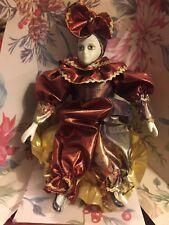 Vintage Animated Music Box Clown Lady Jester Red Gold Pillow Ceramic Porcelain