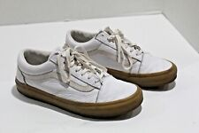 Vans Old Skool White Leather Sneakers with Gum Sole Women's Size 7.5 Mens Size 6