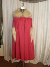 New listing Circa 1917 to 1921 Rose Pink Wool Cape Cloak With Sheepswool Collar And Cuffs