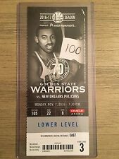 2016 NBA GS Warriors vs Pelicans 11/7 Ticket Stub - Steph Curry 3 point Record