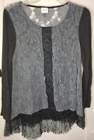 CUPIO Gray Lace Blouse 3/4 Sleeve Shirt Top Medium Soft Romantic BoHo Chic Tunic