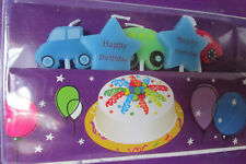 Happy Birthday 5 Pk Candle Picks~Transportation Car Shaped & Stars~Cake Cupcakes