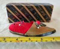 +Vintage Jameco Gold Tone High heel Pin Cushion - RED VELVET with original box