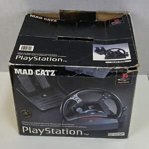 Mad Catz Steering Wheel PS1 PlayStation 1 Foot Pedals Racing Video Games Tested