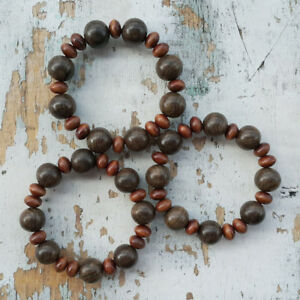 Beautiful 16 MM Kou Wood & Indonesian Ironwood Stigi Pemphis Acidula Bracelet