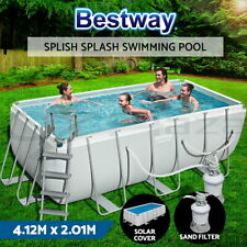 Bestway Above Ground Swimming Pool 13ft Steel Frame Sand Filter Solar Cover