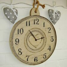 Heart Wall Clock Wooden Rustic Country Style