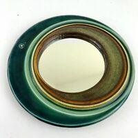 "MCM Handmade Hand Thrown Pottery Wall Mirror 10"" Mid Century Modern Green Brown"