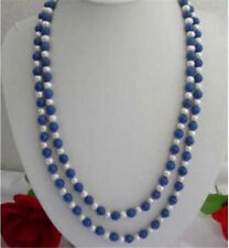 """8mm Egyptian Blue Lapis Lazuli & 7-8MM White Pearl Necklace 36"""" LL0066"""