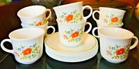 Set of 8 Vintage Corelle Corning Ware Wildflower Tea / Coffee Cups and Saucers