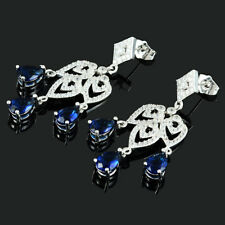 18K White Gold Plated CZ Pear Cut Blue Sapphire Chandelier Drop Earrings