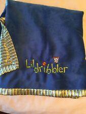 Just Boys Blue Lil Dribbler Velour Striped Satin Baby Blanket