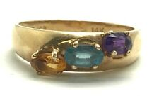 Vintage 14K Yellow Gold Colorful Gemstone Aquamarine Citrine Cocktail Band Ring