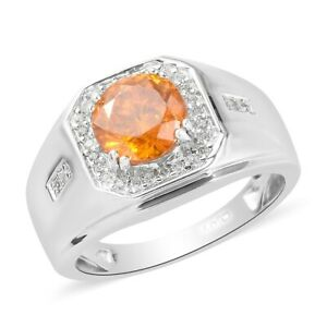 Fathers Day Gift Platinum Over 925 Silver Sphalerite Zircon Ring For Mens Ct 2.9