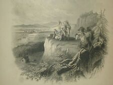 """Vintage 1857 Colton's Atlas Engraving """" Indians Watching Settlers Moving West """""""