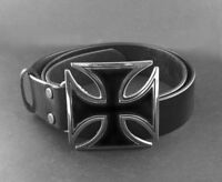 Mens Iron Huge Cross Buckle Biker Trucker Genuine Cowhide Leather Belt Black29