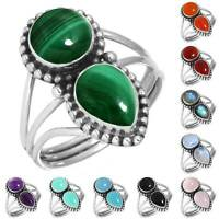 925 Sterling Silver Gemstone Ring Handmade Jewelry Size 5 6 7 8 9 10 11 12 yS901