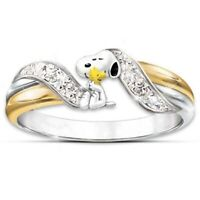 Fashion Cartoon Dog White Sapphire Two Tone Ring 925Silver Women Wedding Jewelry