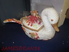 "Fitz & Floyd ""Autumn Fields Swan Soup Tureen & Ladle In Box As Is"