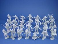 MARX Miners Trappers Cowboys Outlaws LIGHT GRAY 32 Recast 54mm Figures FREE SHIP