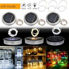 3 Pack Solar Mason Jar Lid Insert 20 LED String Fairy Lights & Hanger Waterproof