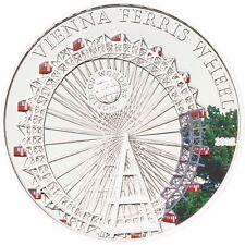 2012 Palau Large Proof Silver color $5 World Wonders-Vienna Ferris Wheel