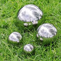 Set of 4 Silver Mirror Garden Spheres Stainless Steel - 6.5, 9, 13 & 18cm