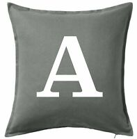 Personalised Grey Cushion Covers Custom Initial Sofa Daybed Pillows