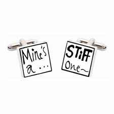 Mine's A Stiff One Cufflinks by Sonia Spencer, boxed. Hand painted, RRP £20!