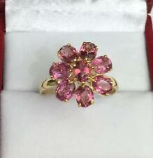 14k Solid Yellow Gold Cluster Flower Ring, Natural Pink Tourmaline,Sz 9. 2.89 Gr