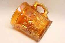 Northwood SINGING BIRDS STIPPLED Marigold Carnival Glass Mug 4650
