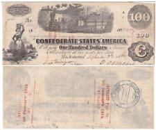 1862 $100 Confederate States Note T-40 Cr-298 Diffused Steam
