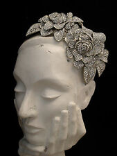 STATEMENT VINTAGE SILVER GOLD CLEAR CRYSTAL ROSE FLOWER LEAF HEAD PIECE TIARA