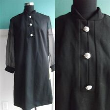 VTG black 60's mod dress with sheer arms silver buttons costume M/L