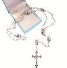 Silver Miraculous rosary beads Catholic gift + box Our Lady paters Catholic gift