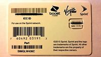 Sprint/Boost/Virgin/TING Nano/4FF SIM Card  SIMGLW436C 63.09a