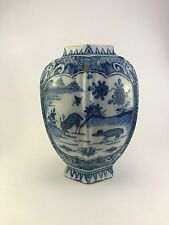 Antique Delft Vase Blue and White, 17th/18th c,  Stag and Doe Motif, late 1600's