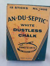 NOS Vintage An-Du-Septic No. 1400 Binney & Smith White Dustless Chalk USA