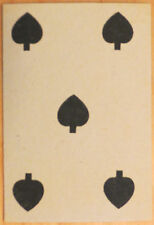 Vintage Circa 1865-1880 Great Mogul Belgian Playing Card 5 of Spades
