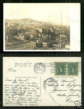 San Francisco rppc Aerial view Chy Lung & Co. stamps 1908