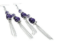 Purple Skull  Earrings 5 1/2 Inches Long