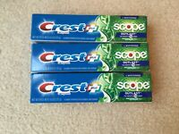(3-Pack) 4.0 oz Crest Complete Scope Outlast + Whitening Mint Toothpaste 11/2022