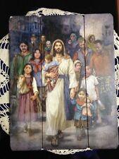 """WELCOME THE STRANGER"",  PALLET SIGN  12 x 15"" ! NEW Mezmerizing face of Jesus"