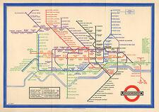 Large Framed Print - Vintage 1933 London Underground Tube Map (Picture Poster)
