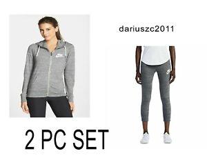 Nike GYM VINTAGE HOODIE & CAPRI PANTS WOMEN'S HEATHER GRAY (091)  813872 MEDIUM
